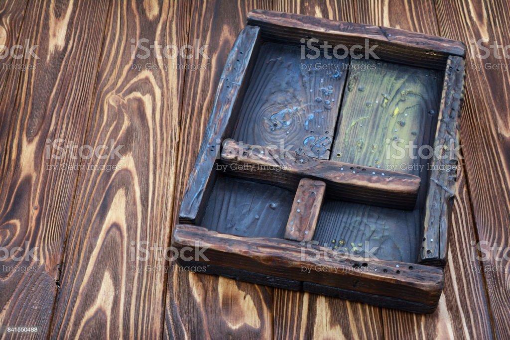 Close-up vintage shadow box stock photo