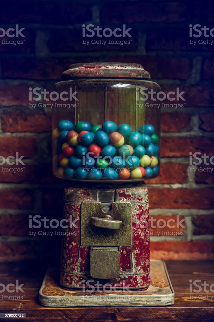 Close-up Vintages Eggs Slot Machine with colorful eggs stock photo