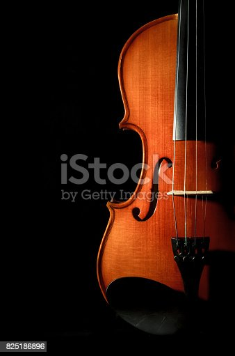 istock Closeup Violin orchestra musical instruments on black background 825186896