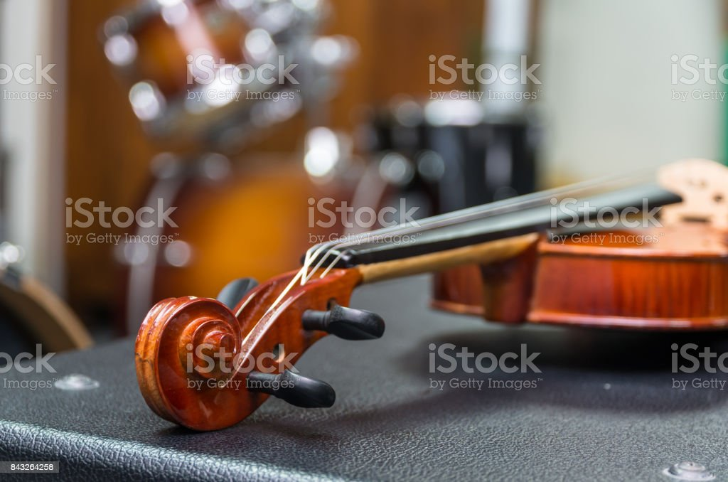 Closeup Violin orchestra musical instruments stock photo