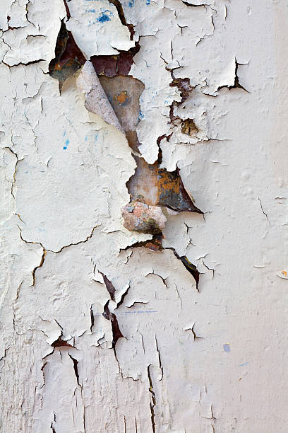 closeup wall section with heavy peeling white paint - peeled stock photos and pictures