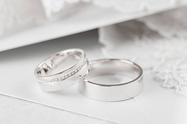 Closeup wedding rings stock photo