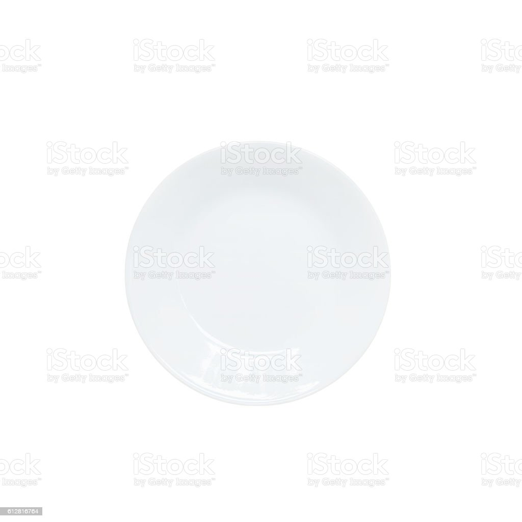 Closeup white ceramic dish isolated on white background with clipping path stock photo