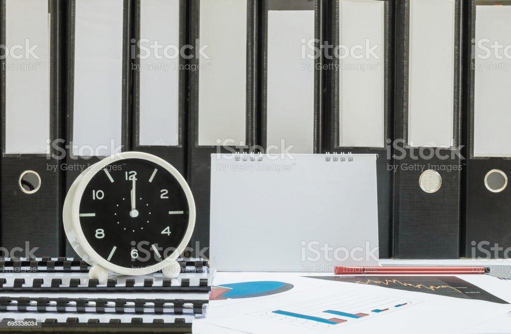 desk office file document paper. Closeup White Clock For Decorate In 12 O\u0027clock Desk Of Officer With Work Paper Office File Document G