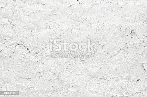 istock Close-up white grunge old wall texture concrete cement background 636419618