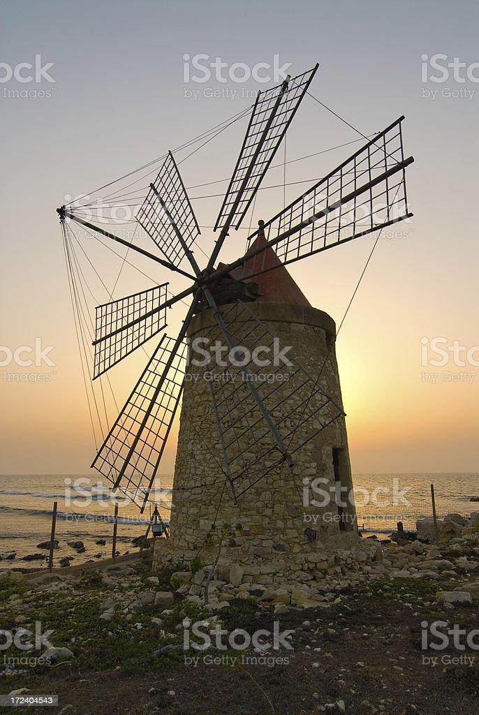 Closeup Windmill at Dusk royalty-free stock photo