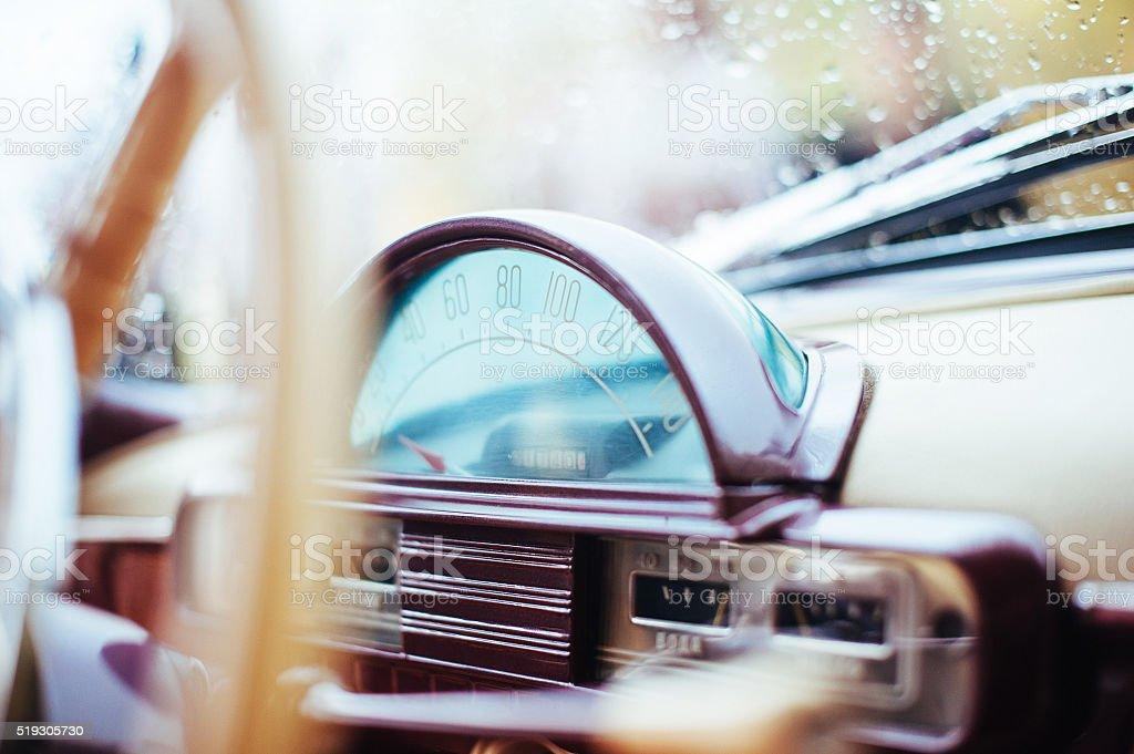 Closeup windshield in the rain Volga car stock photo