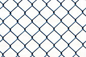 Closeup black wire fence against white background, full frame horizontal composition with copy space