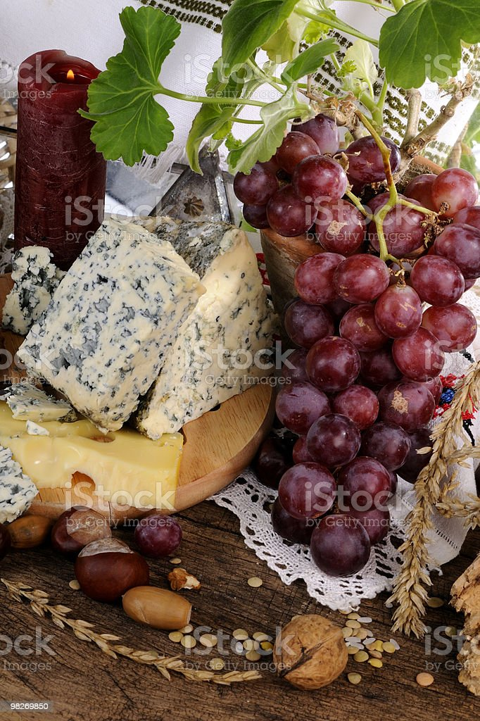 close-up with moldy cheese and fruits royalty-free stock photo