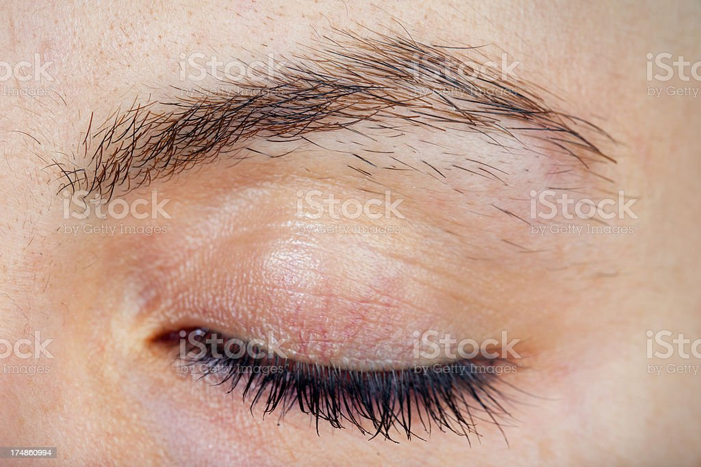 Close-up Woman eyebrow is need pluck royalty-free stock photo