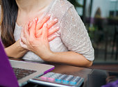 istock Closeup woman having heart attack. Woman touching breast and having chest pain after long hours work on computer. Office syndrome concept. 840753690