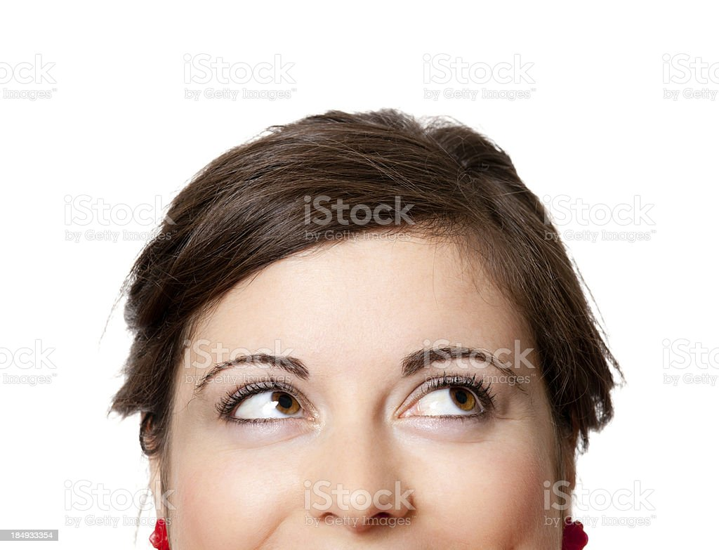 Close-up woman looking up stock photo