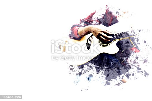 istock Close-up women playing acoustic guitar on walking street on watercolor illustration painting background. 1090449880