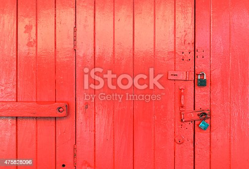 Closeup wooden red door background