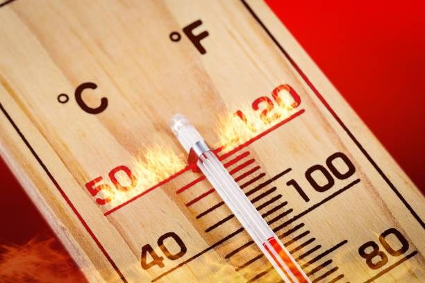 nahaufnahme aus holz thermometer skalieren 40 grad. heißer sommertag. - wärmeplatte stock-fotos und bilder