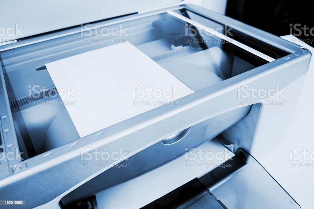 Close-up working printer scanner copier device stock photo