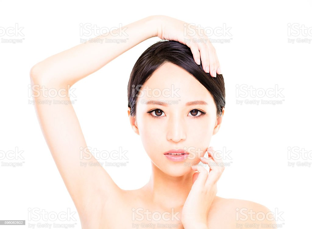 closeup   young  woman face with clean  skin royalty-free stock photo