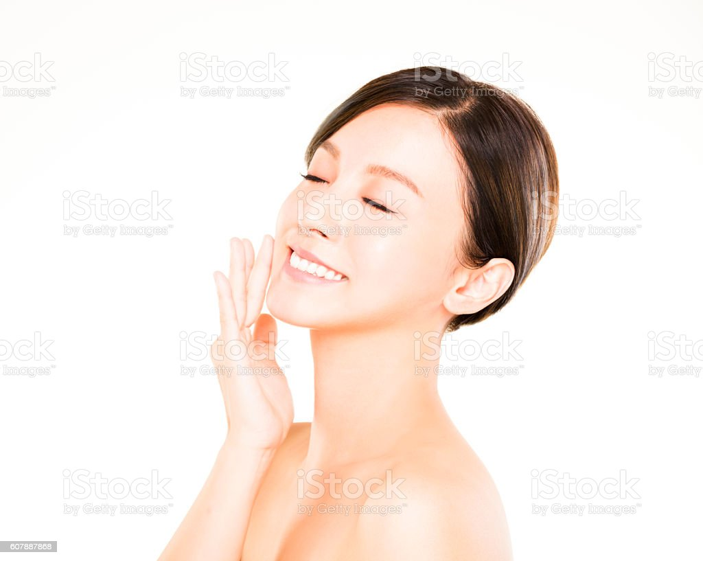 closeup   young  woman face with clean  skin stock photo