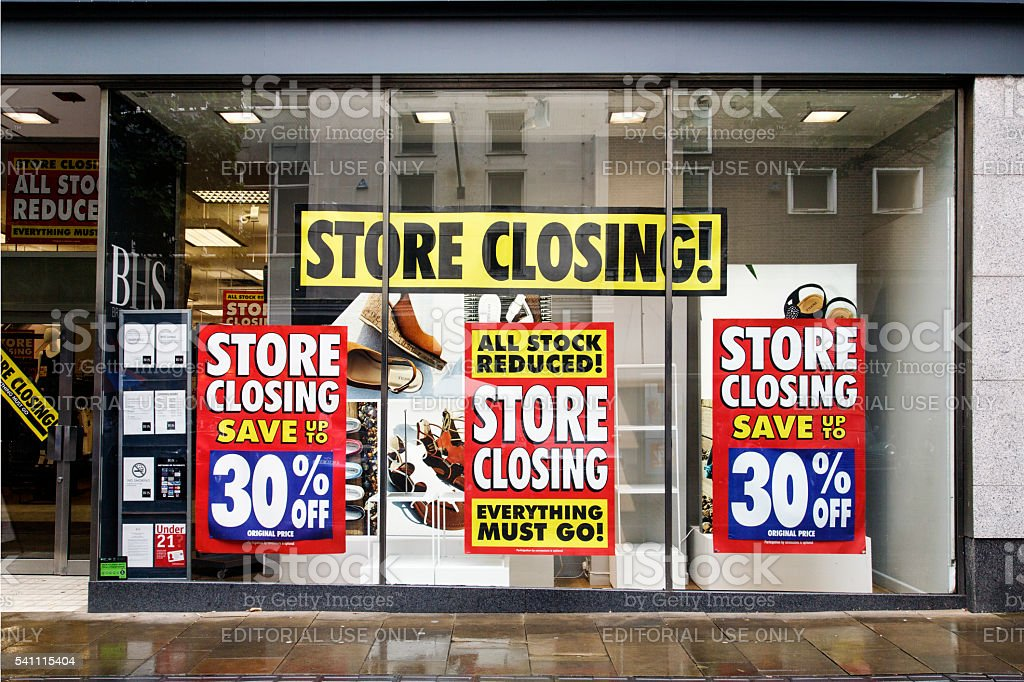 Closing Down - British Home Stores stock photo