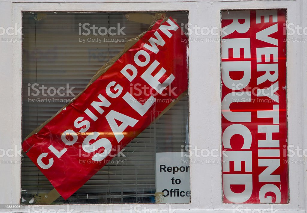 closing down sale sign stock photo