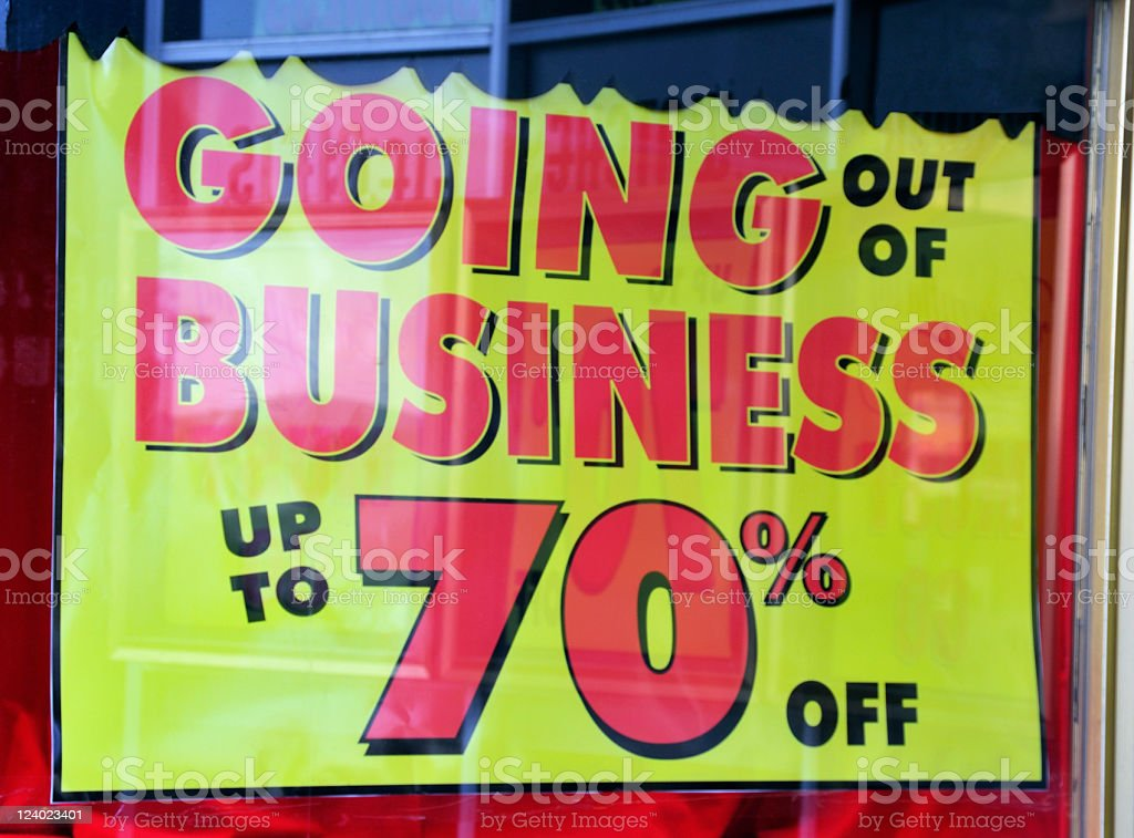 Closing down sales, for going out of business, up to 70% off royalty-free stock photo