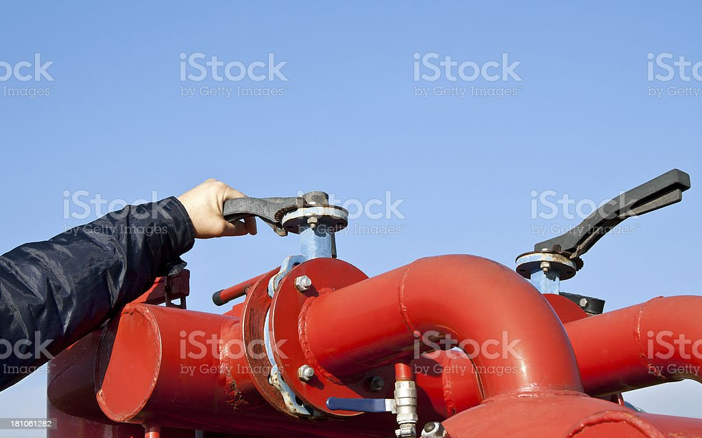 Closing or opening the valve royalty-free stock photo