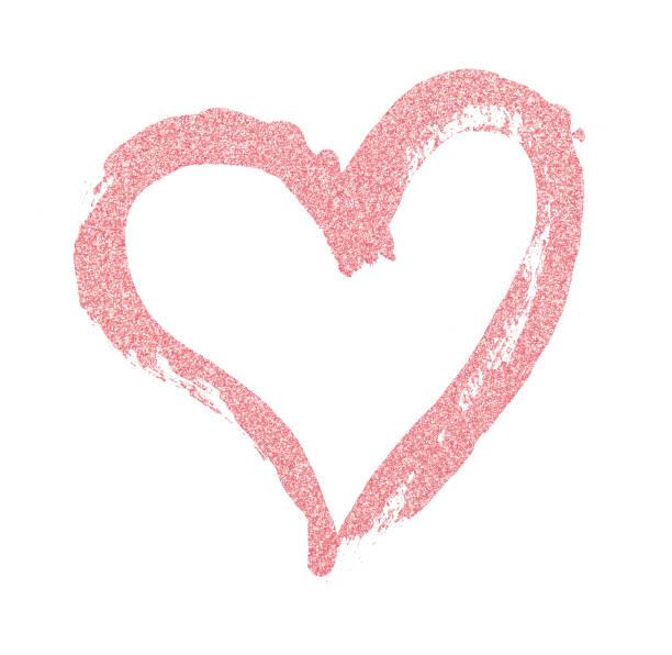 closup der rosa glitzer herzen mit einem pinsel gemalt - nägel glitzer stock-fotos und bilder