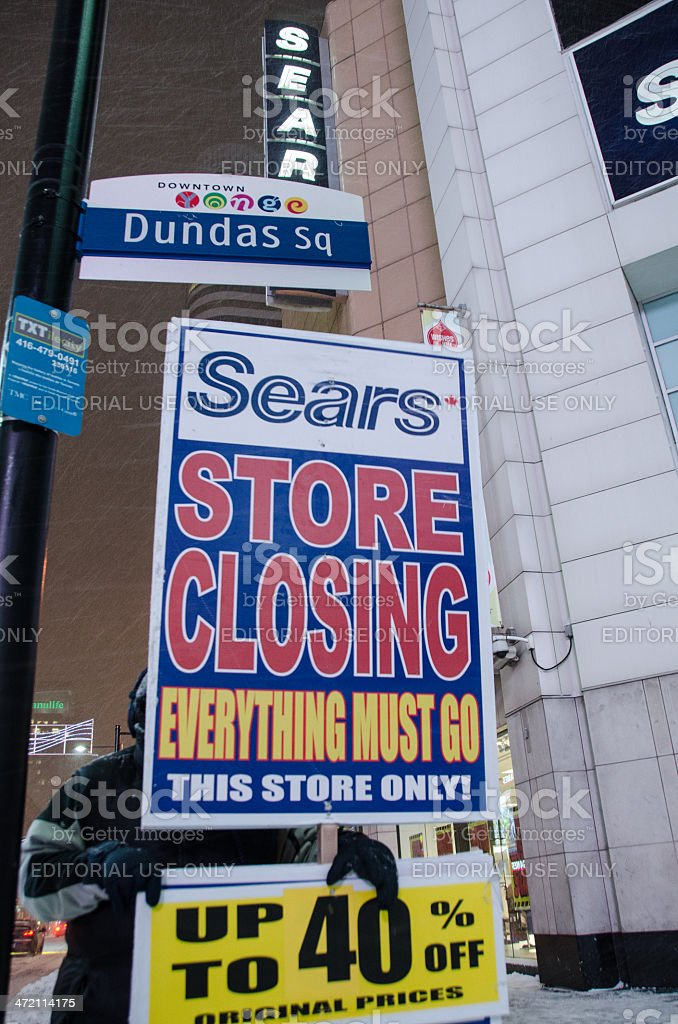 Closure of Sears store at Dundas Square in Toronto stock photo