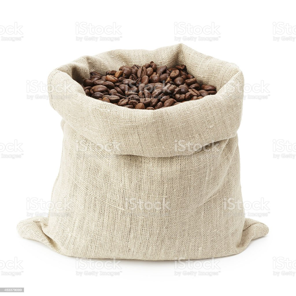Cloth bag full of fresh coffee beans isolated on white stock photo
