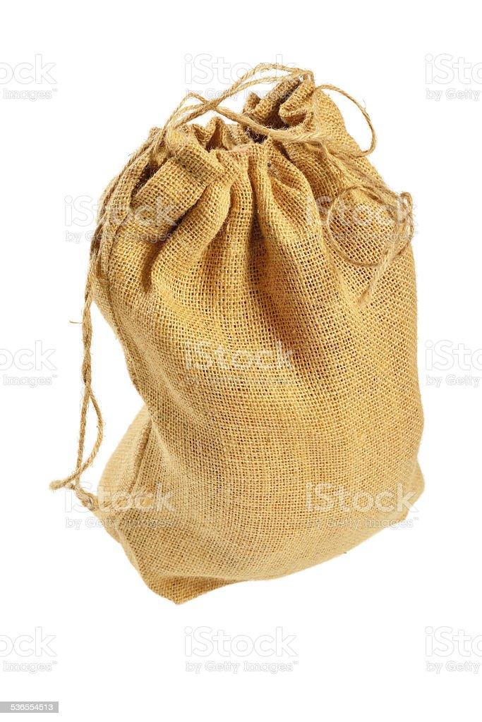 Cloth bag with drawstrings stock photo