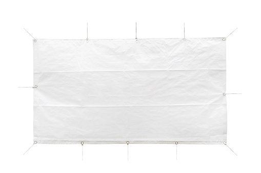 Cloth banner hanging with ropes.  with clipping path. photography.