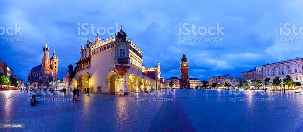 Cloth Hall well known as sukiennice at night. Krakow Poland. stock photo