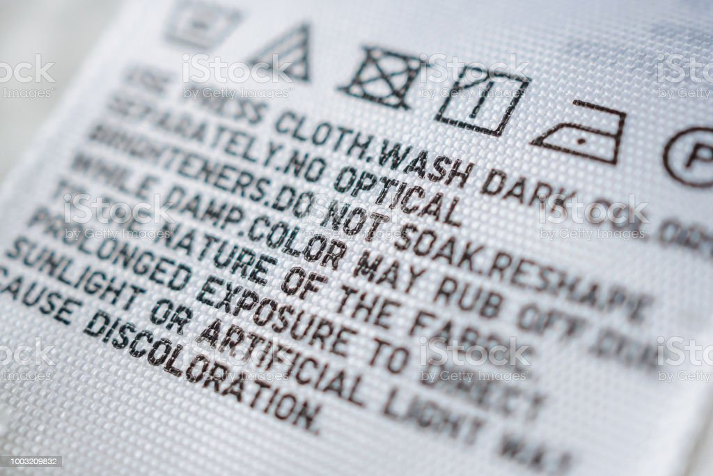 Cloth Label Tag With Laundry Care Instructions Stock Photo More