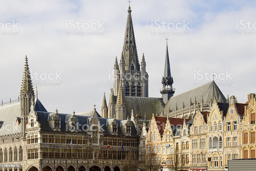 Cloth Market building and main square - Ypres, Belgium stock photo
