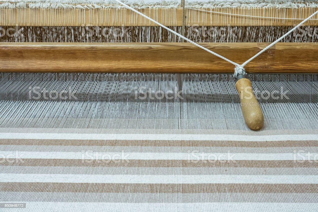 cloth on a traditional loom stock photo