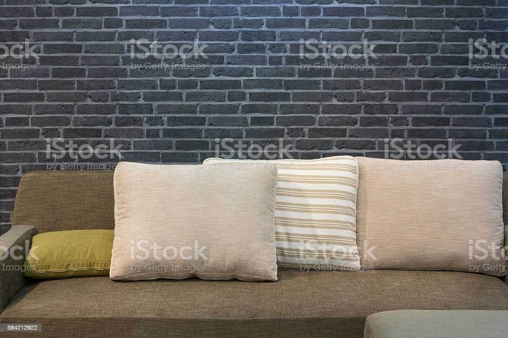 Cloth sofa and cushions stock photo
