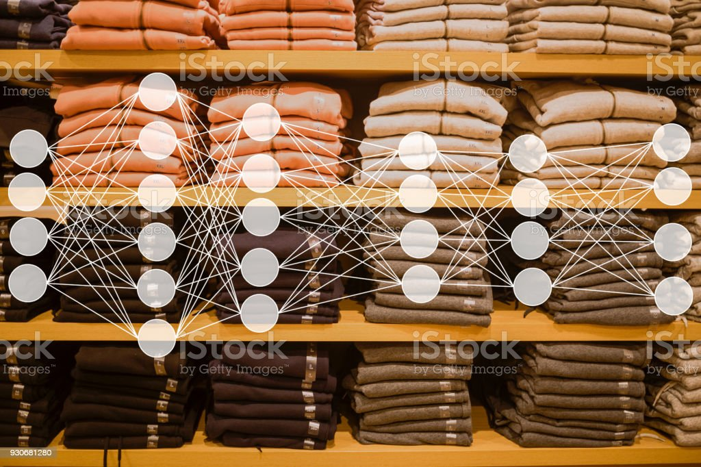 Cloth sold in the market with neuron network stock photo