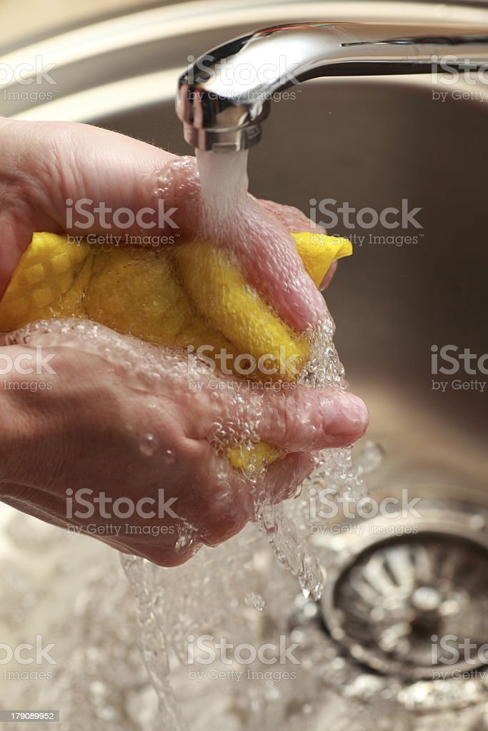 cloth under running water royalty-free stock photo