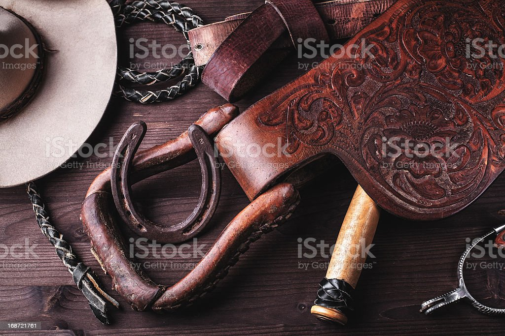 clothes and accessories for horse riding. stock photo