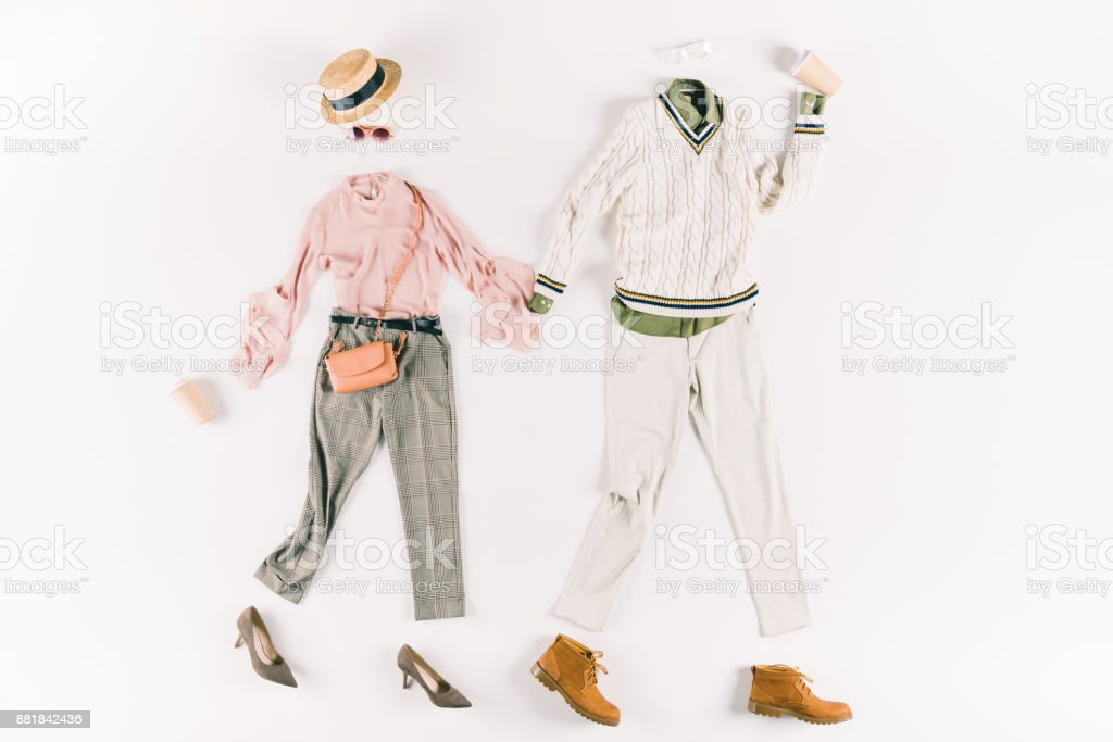 clothes and paper cups stock photo