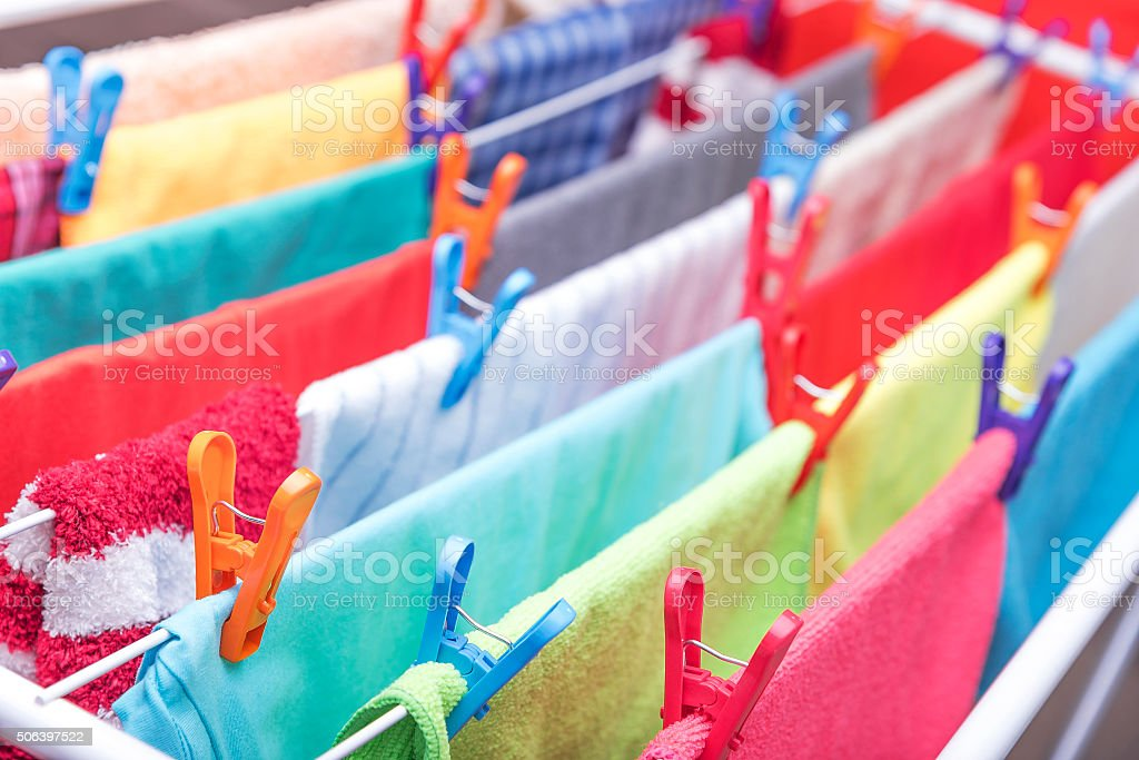 Clothes are hung drying stock photo