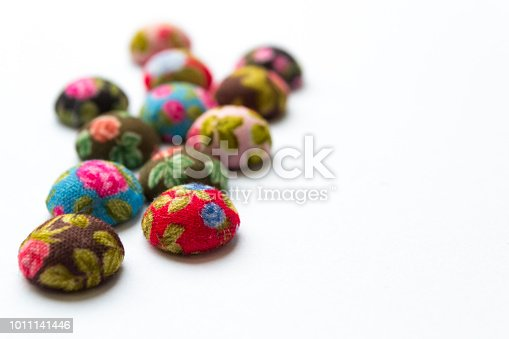 Clothes buttons isolated. Closeup photo shot