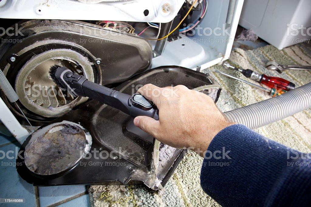 Reparieren trockner entfernen staub und flusen von stock
