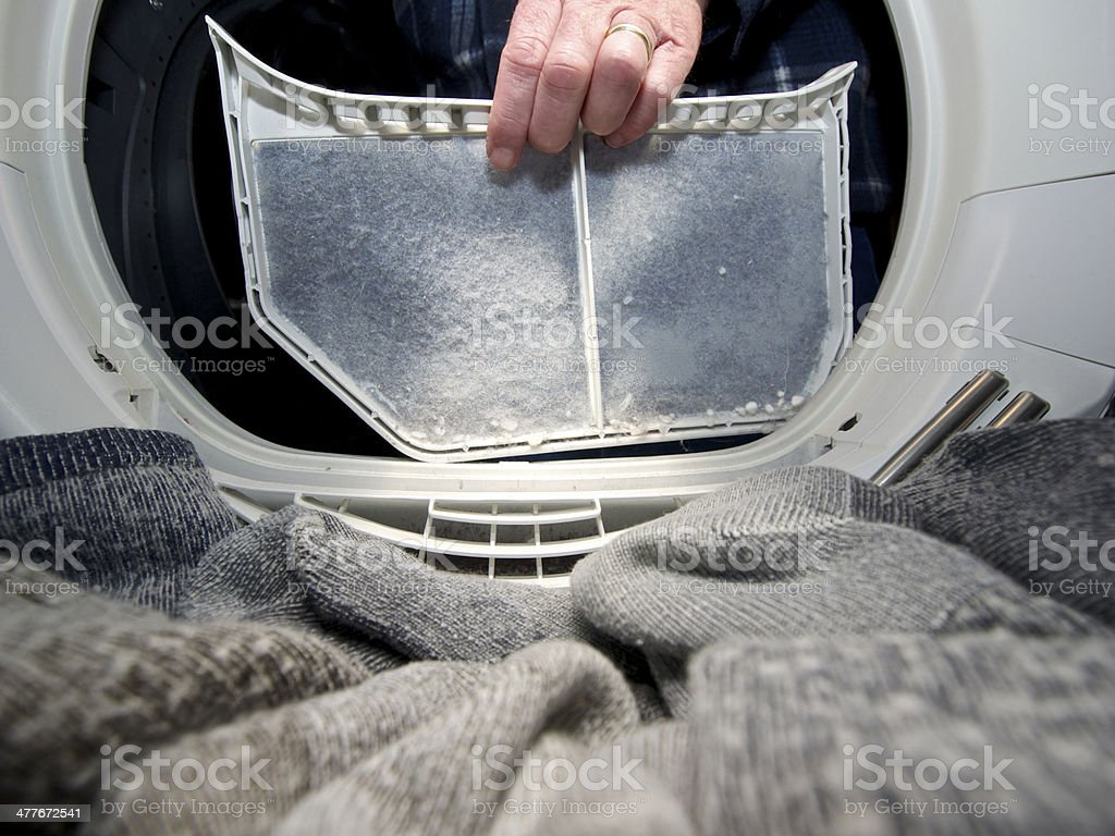 Clothes Dryer Lint Trap Removed To Clean From Inside Closeup Stock Photo Download Image Now Istock