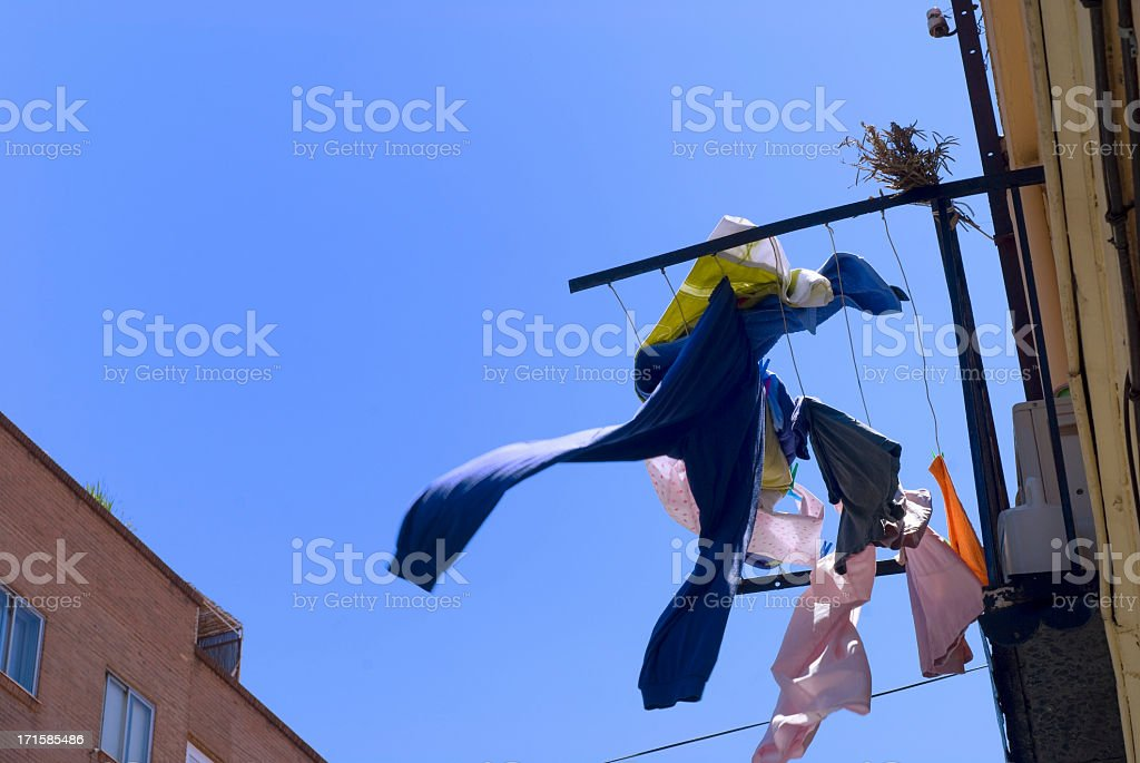 Clothes drying in the sun royalty-free stock photo