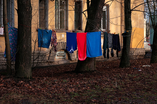 clothes drying on a rope