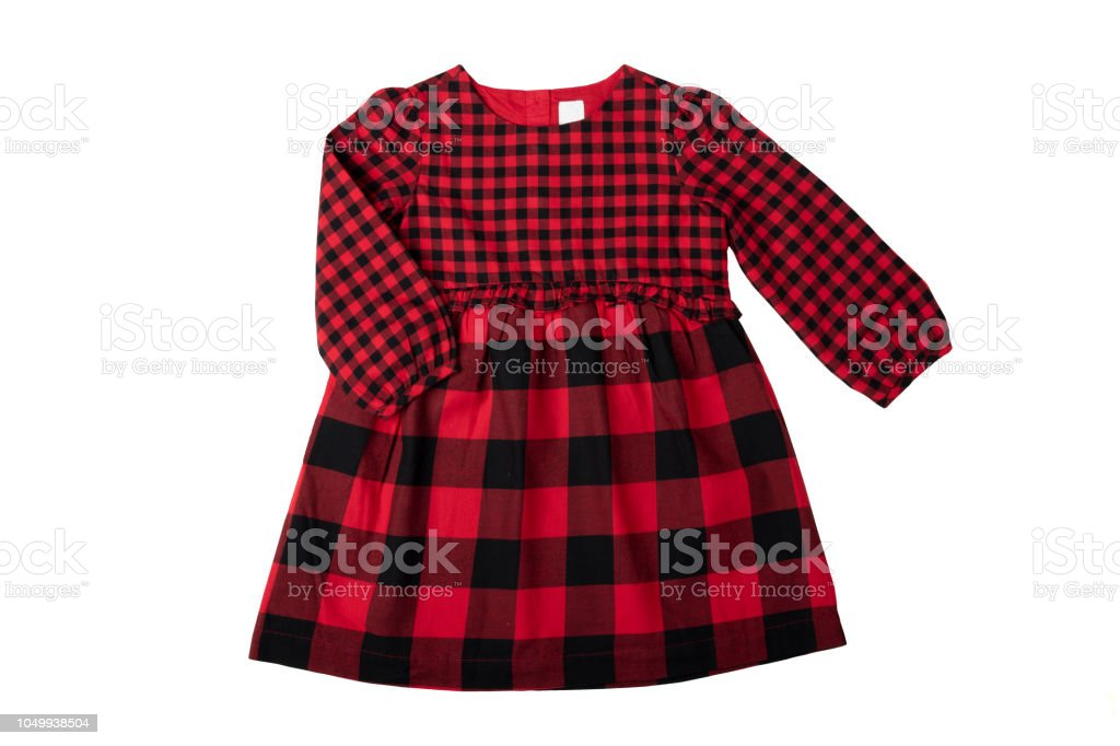 96ad8ab579e Clothes for children. A beautiful red and black checkered girl dress  isolated on a white background. Children fashion. - Stock image .