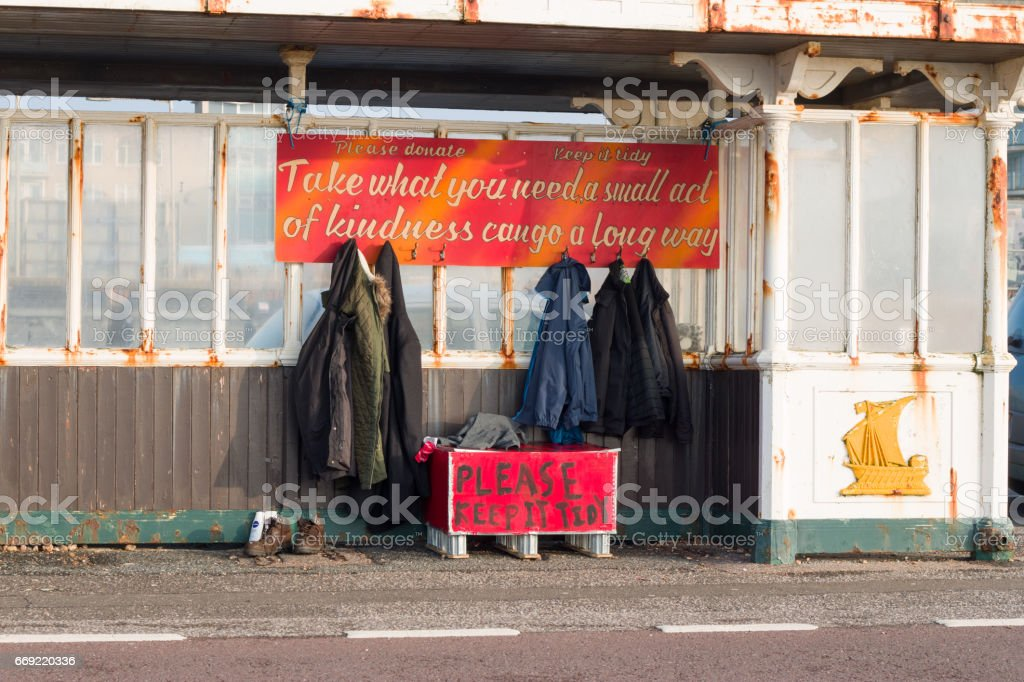 Clothes for Homeless People stock photo
