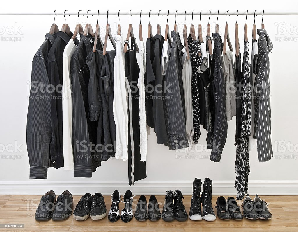 Clothes for man and woman stock photo