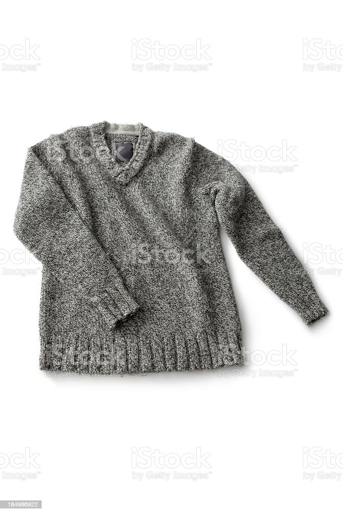 Clothes: Grey Woolen Sweater royalty-free stock photo